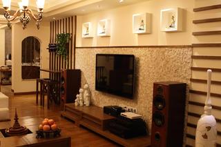 东南亚风格三居电视背景墙设计