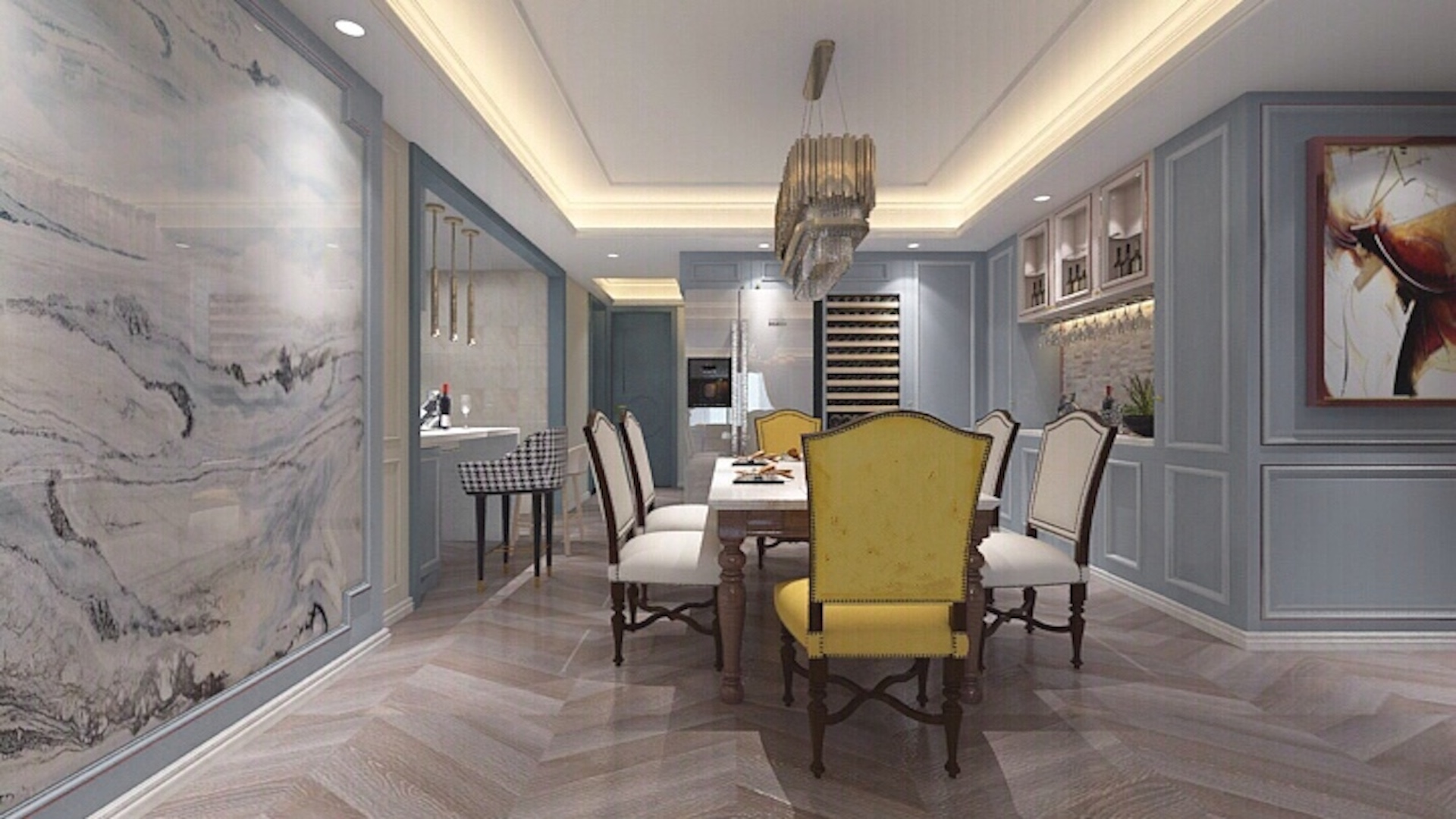 蓝调轻美式装修餐厅效果图