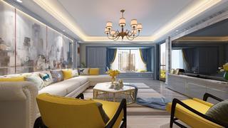 蓝调轻美式装修沙发图片