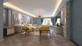 蓝调轻美式装修客厅效果图
