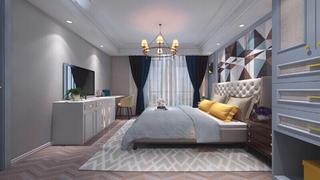 蓝调轻美式装修卧室背景墙图片