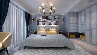 蓝调轻美式装修卧室效果图