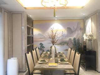 浪漫新中式装修餐厅布置图