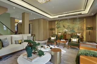现代中式复式装修客厅效果图