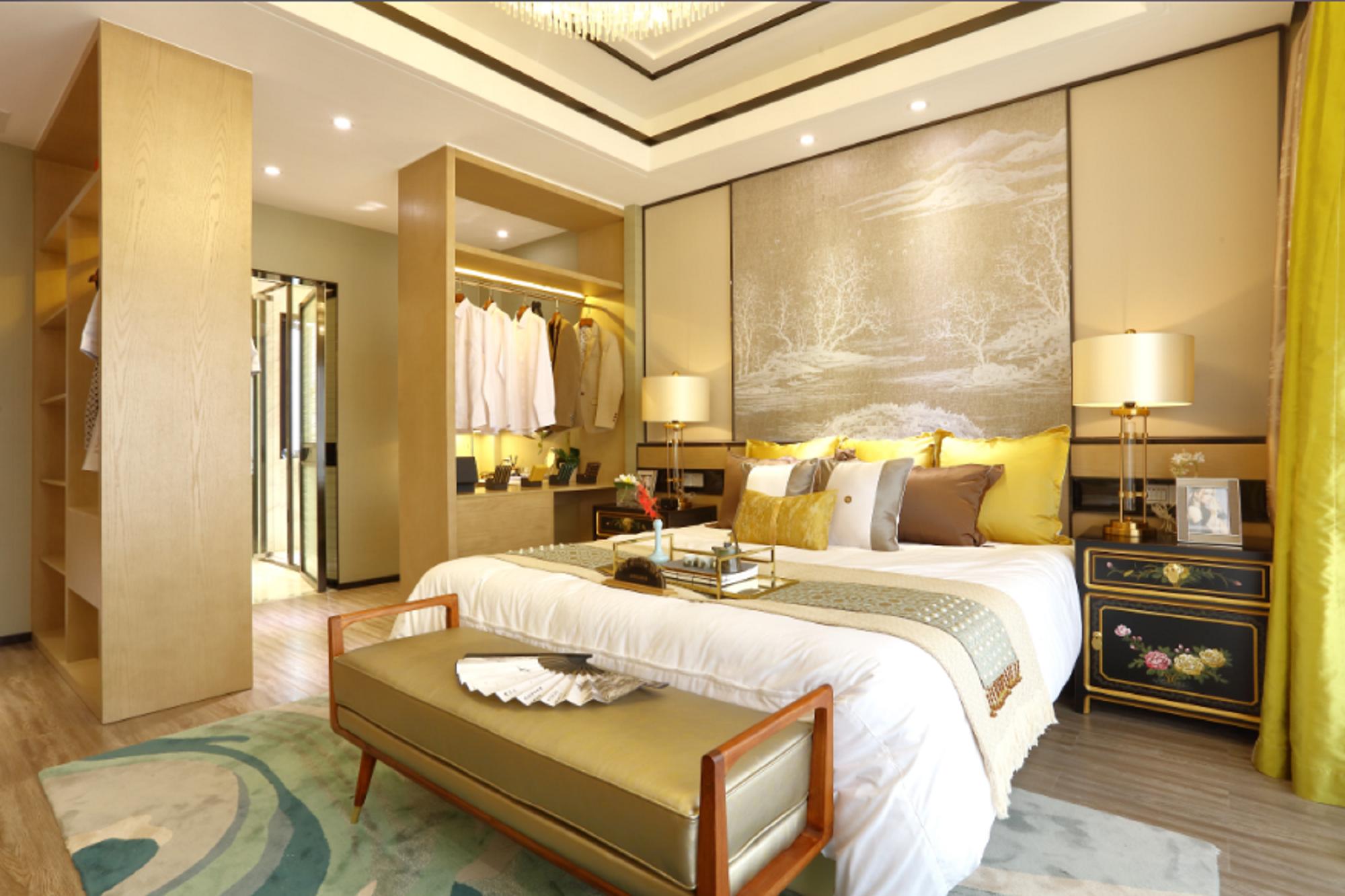 现代中式复式装修卧室效果图