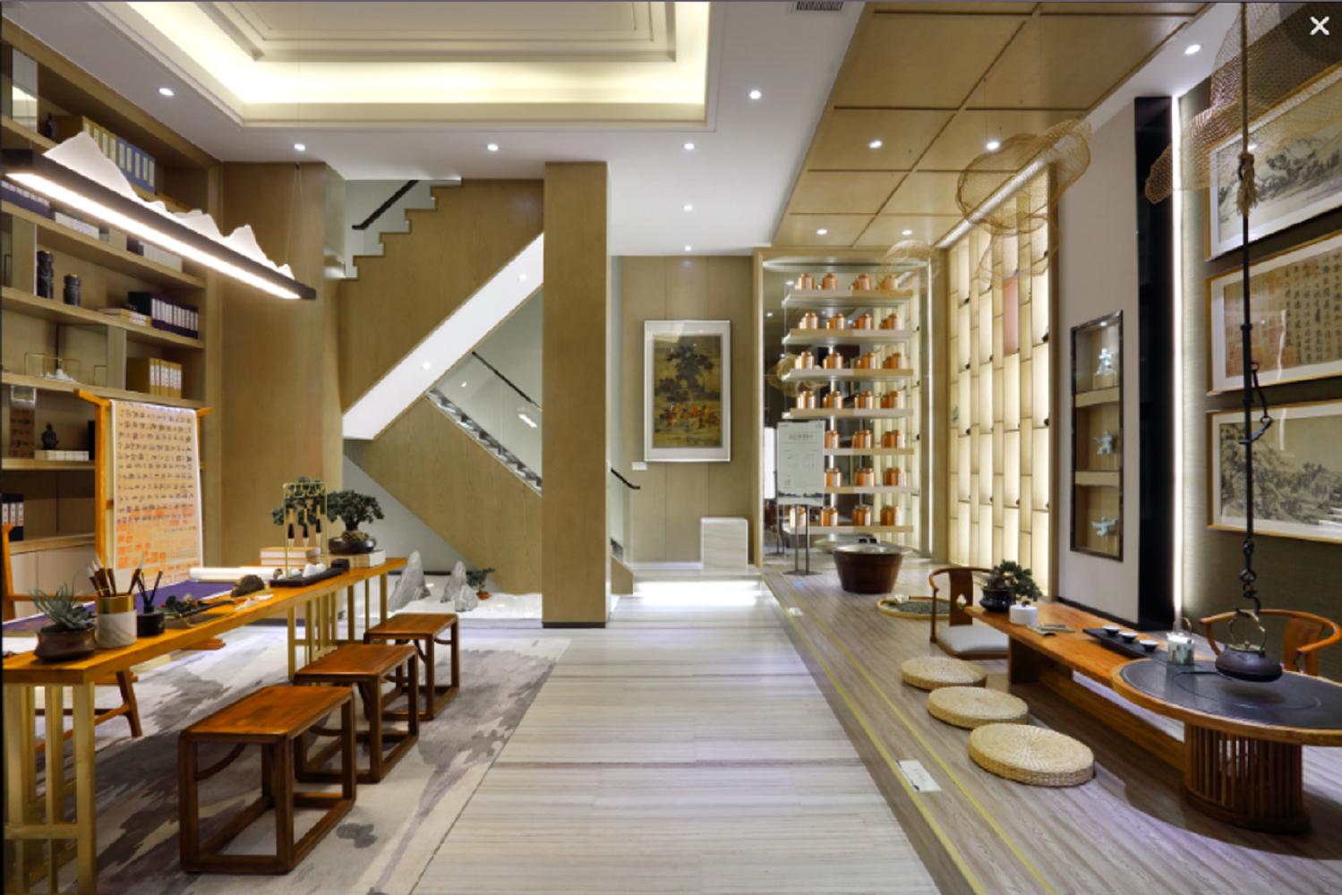 现代中式复式装修茶室过道