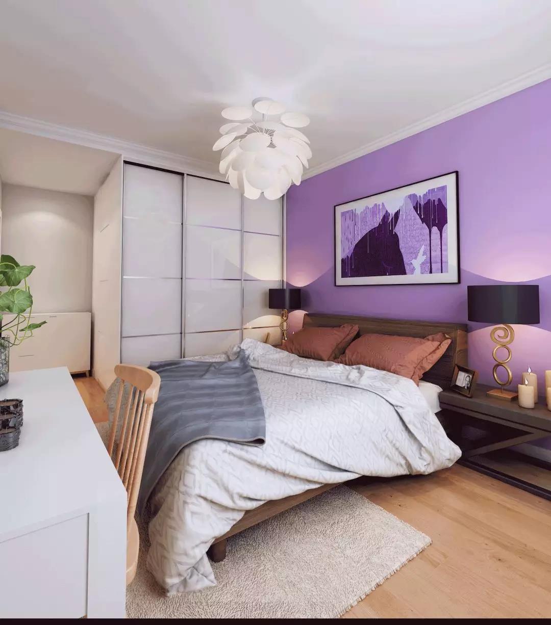 90㎡小三居设计卧室效果图