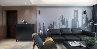 复式简约风格装修沙发背景墙图片