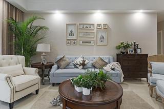 三居室美式风格装修沙发背景墙图片