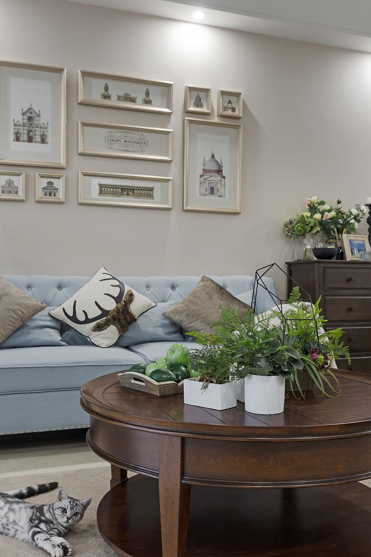三居室美式风格装修茶几图片