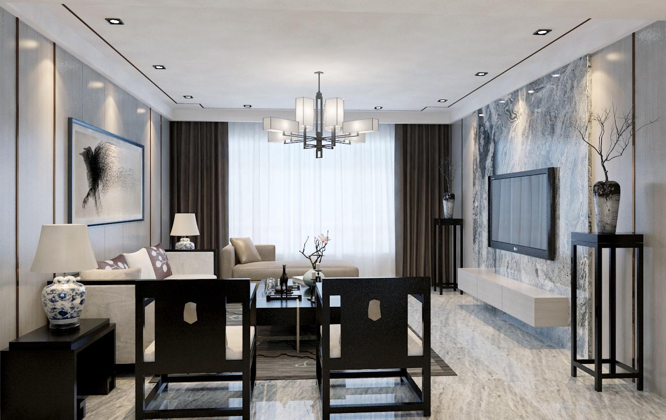 现代中式装修客厅效果图
