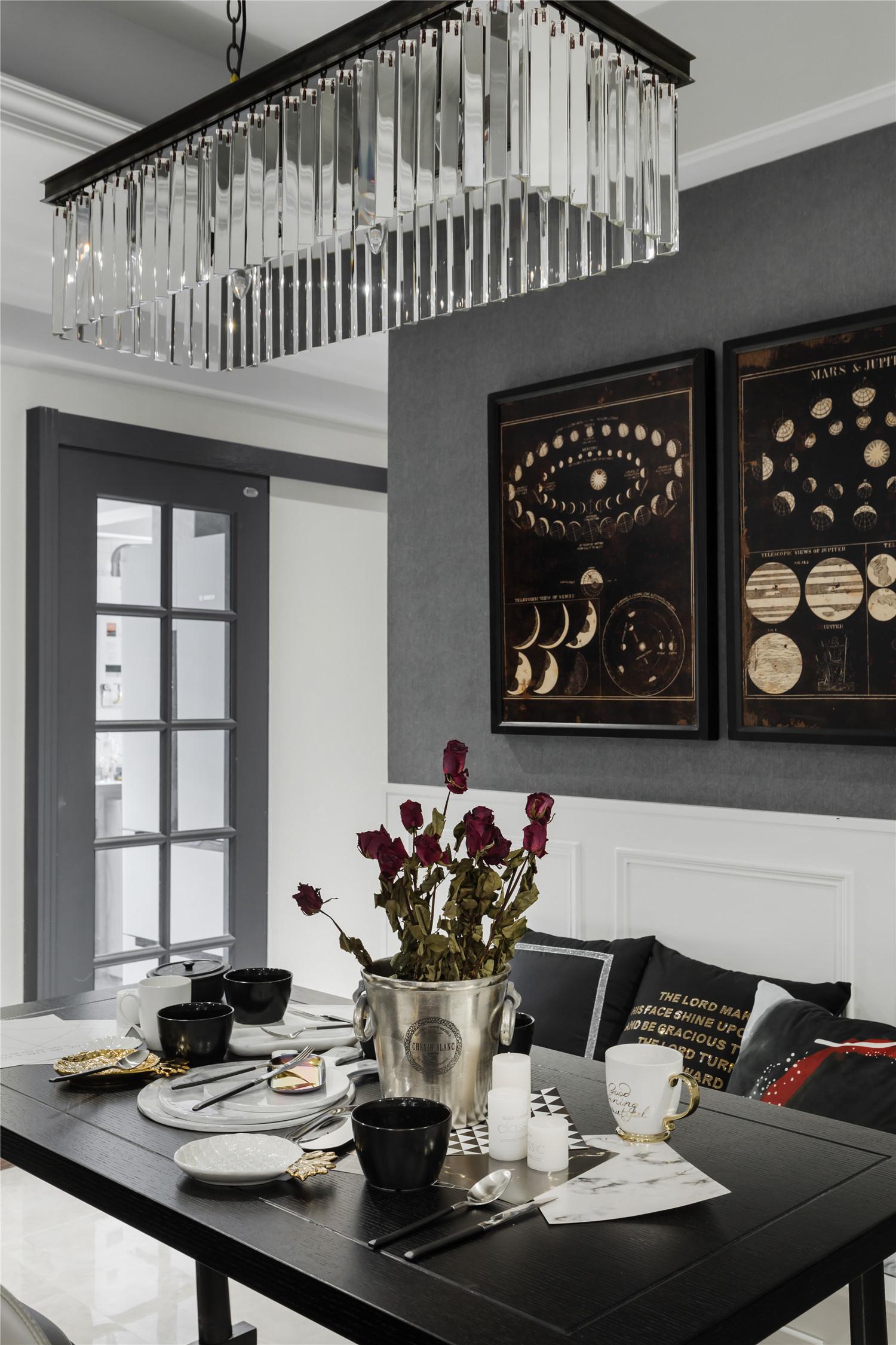 90平简欧风格设计餐厅布置图