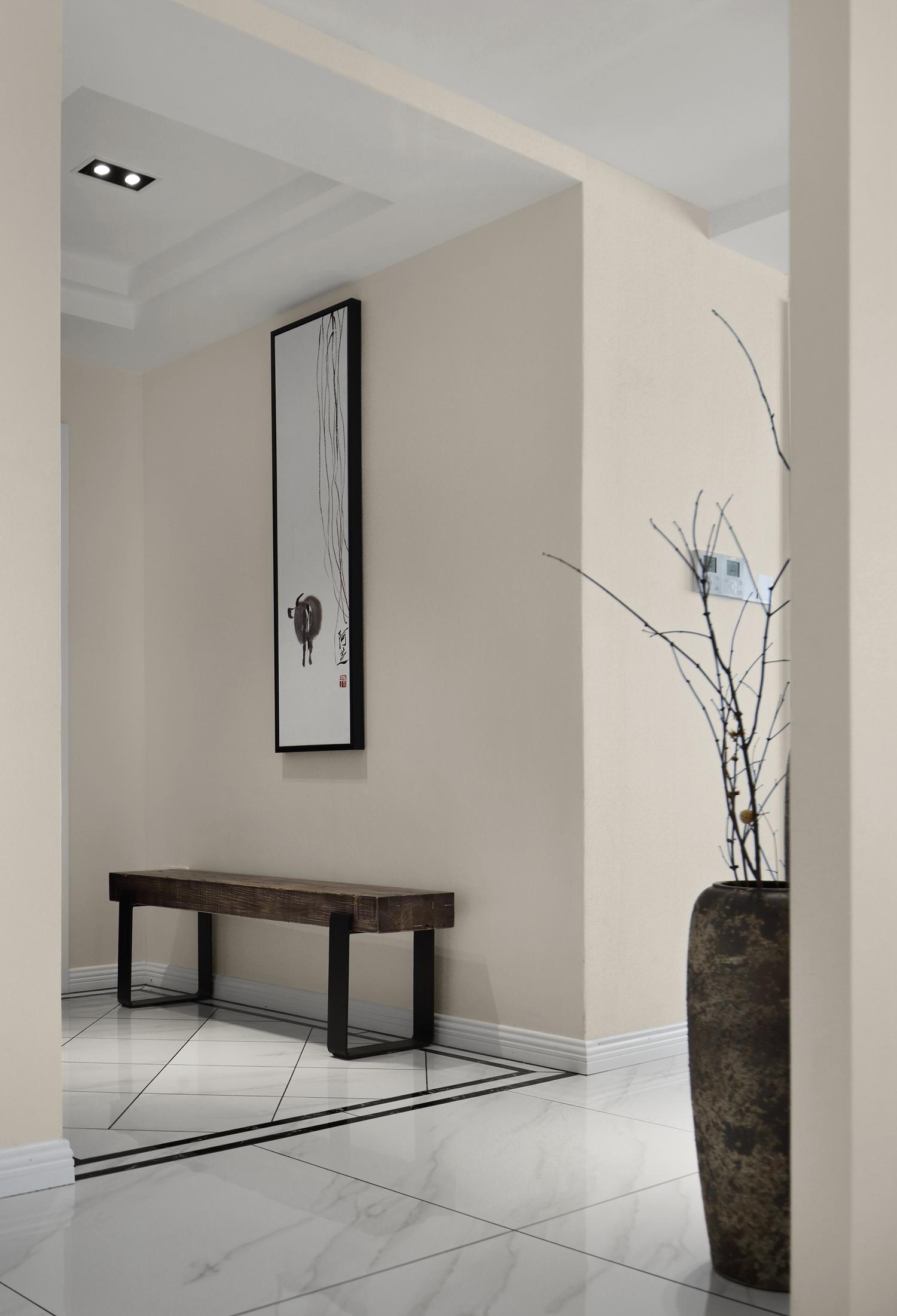 大户型新中式设计门厅装饰画