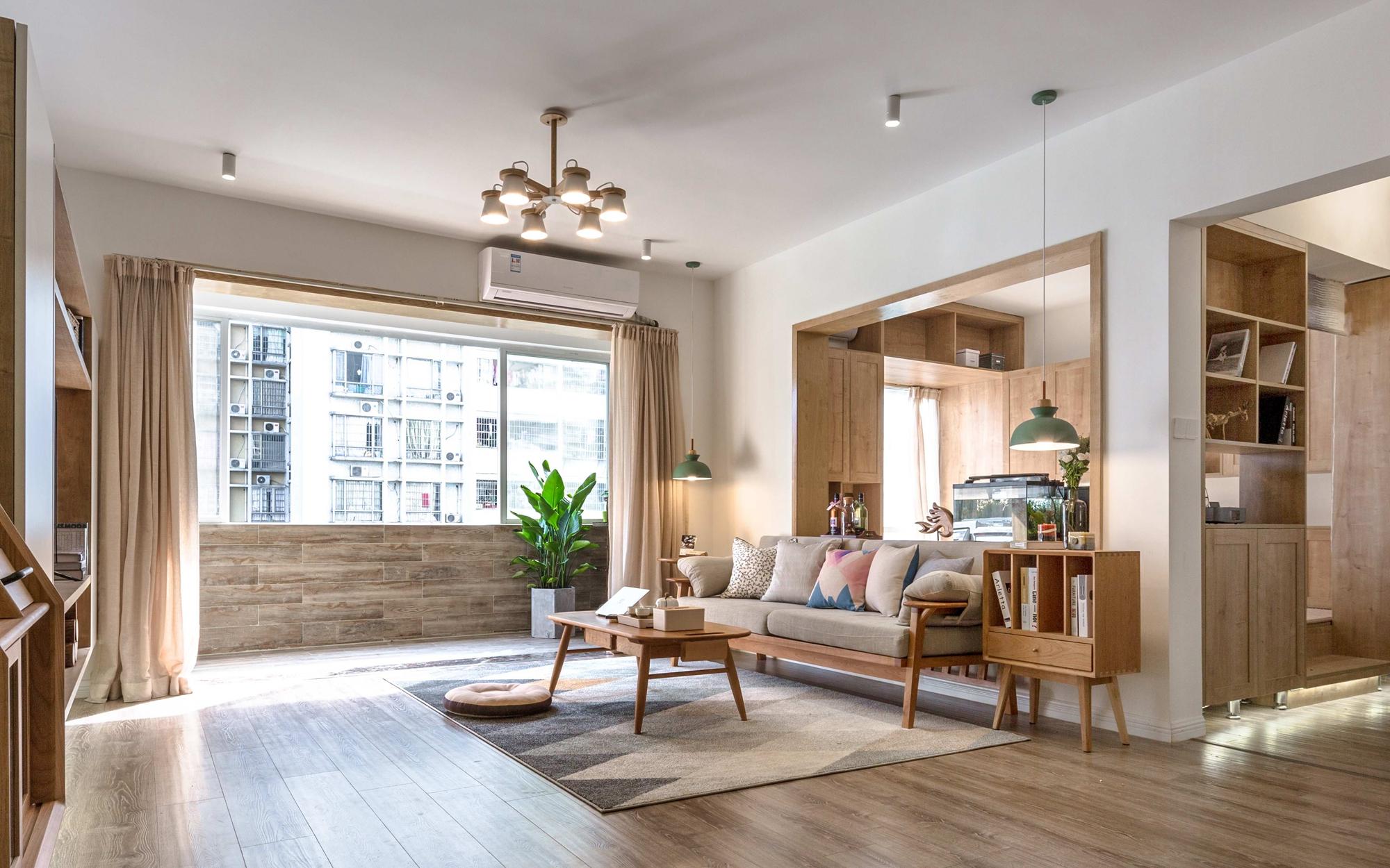三居室日式风格设计客厅效果图