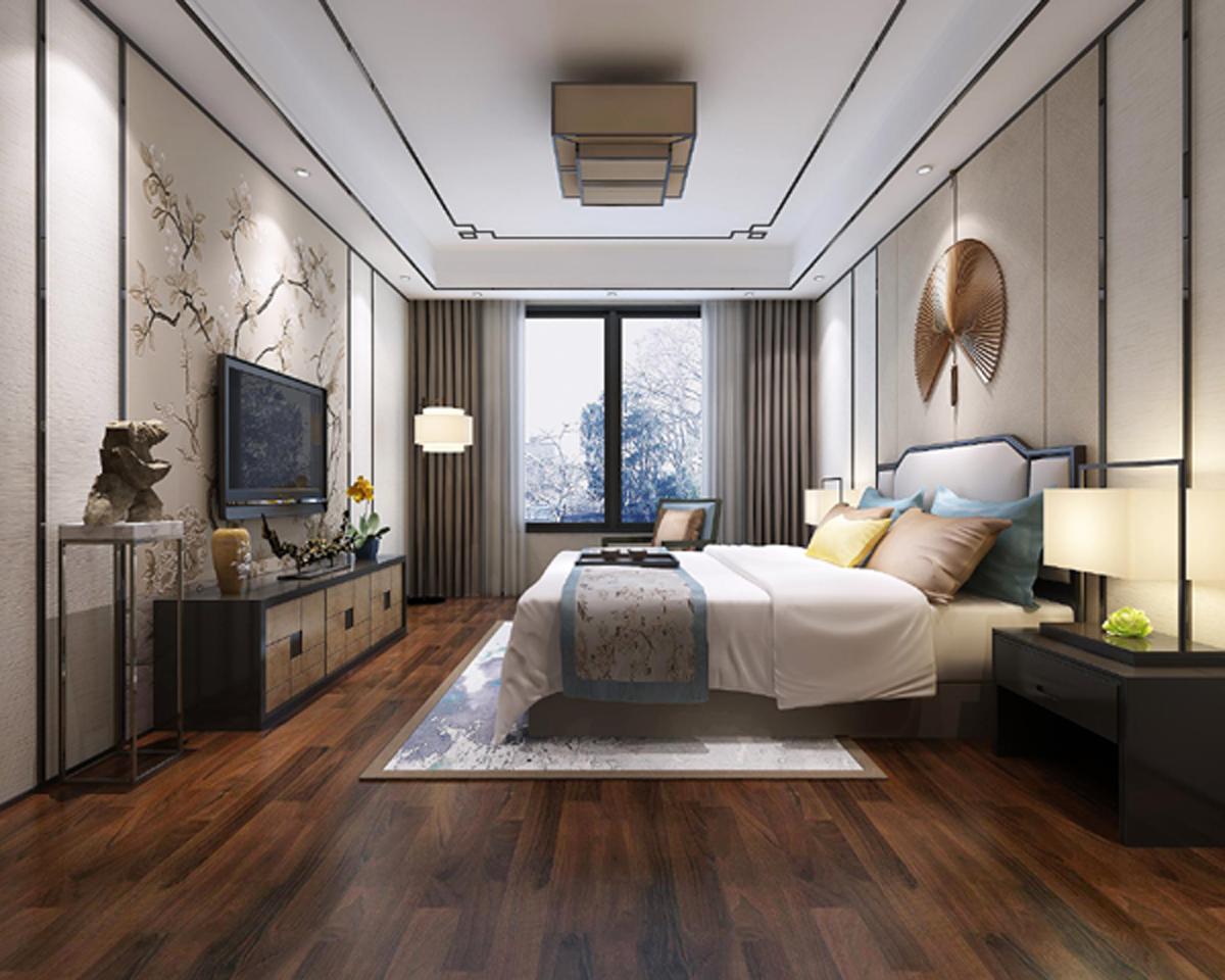 新中式复式装修卧室效果图