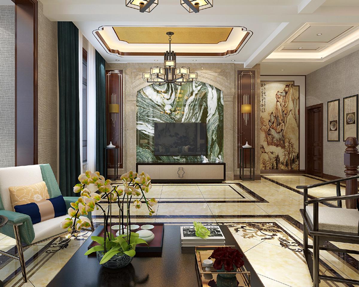 新中式复式装修客厅设计图