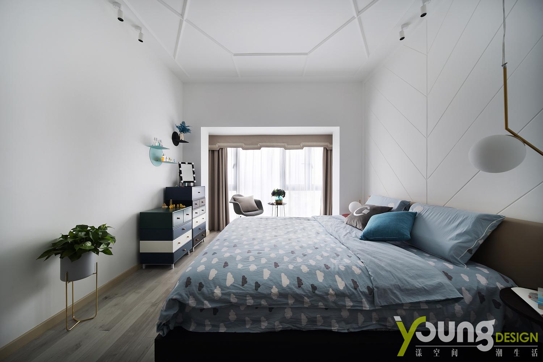 89㎡现代简约风装修卧室效果图