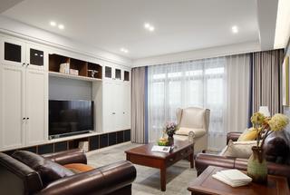 美式风格别墅客厅电视墙装修效果图