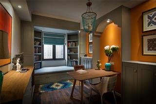 180平混搭风格设计书房布置图