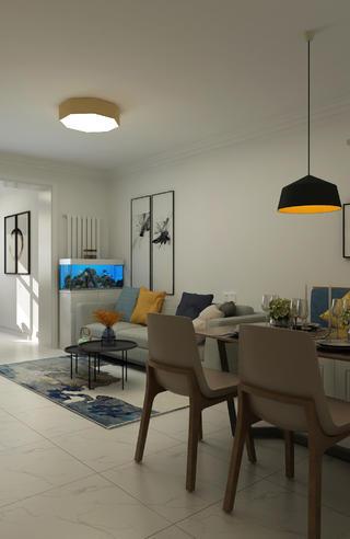 二居室现代北欧家沙发背景墙