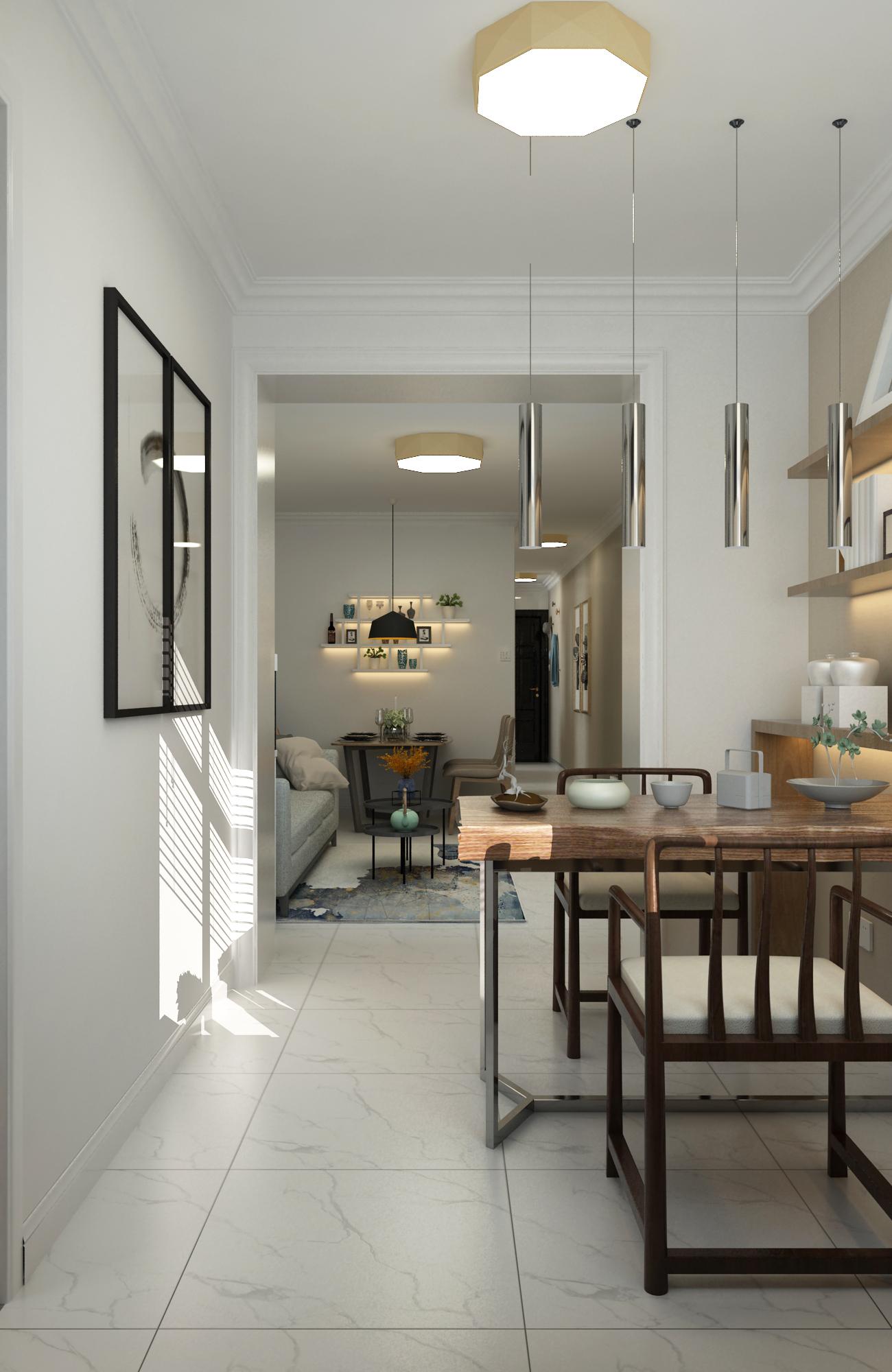 二居室现代北欧家茶桌图片