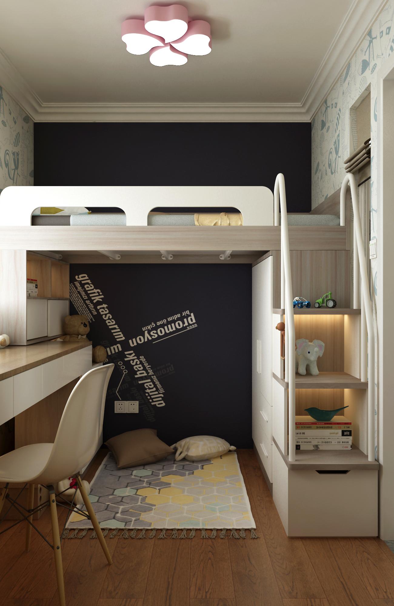 二居室现代北欧家儿童房设计图