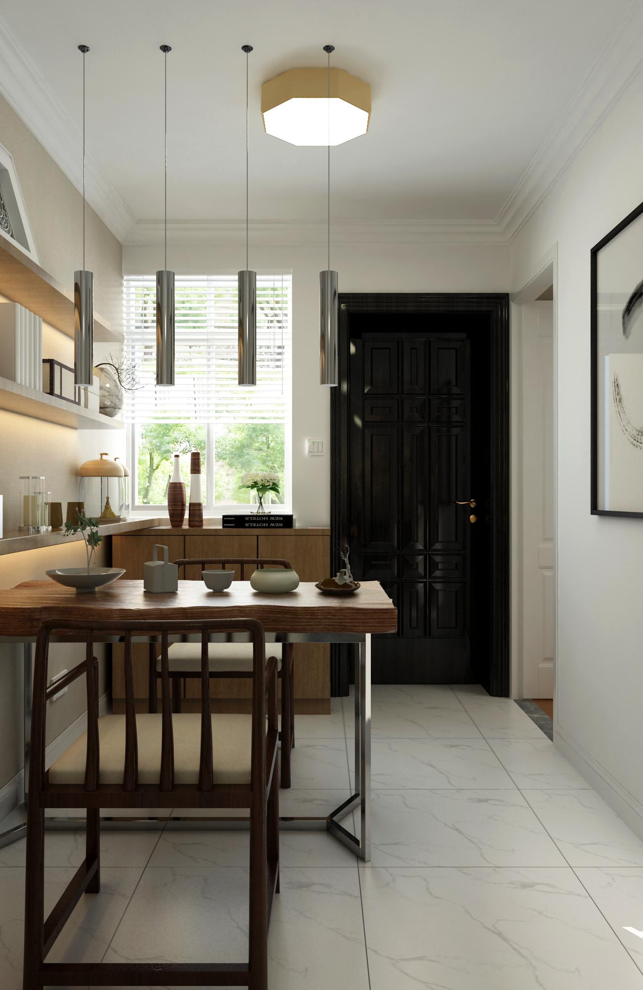 二居室现代北欧家茶室布置图