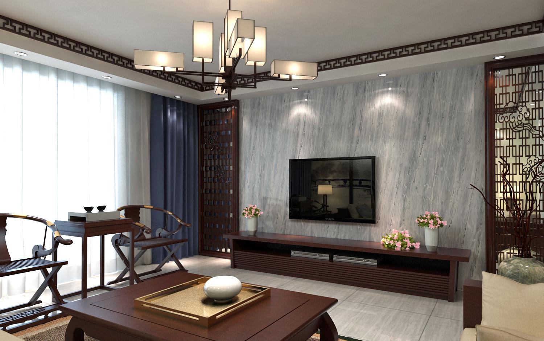 二居室中式风格装修电视背景墙图片