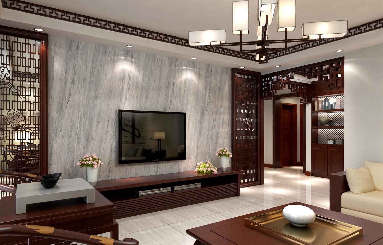 二居室中式风格装修吊顶设计