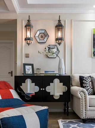 92平美式风格装修沙发边柜设计