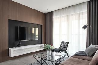 现代简约风格两居客厅电视墙装修效果图