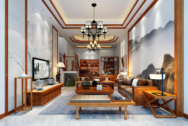 新中式别墅装修客厅效果图