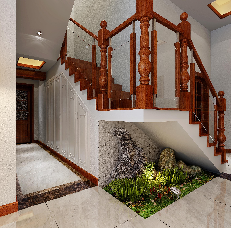 新中式别墅装修楼梯图片