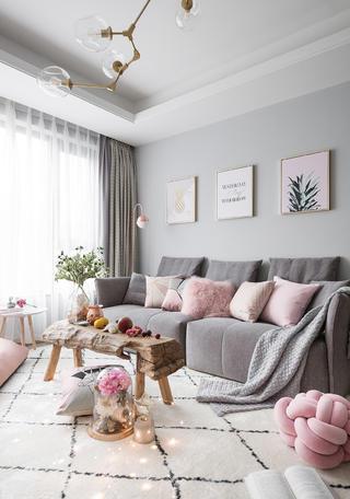 三居室北欧之家窗帘图片