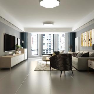 三居室北欧风格装修效果图 柔和自然