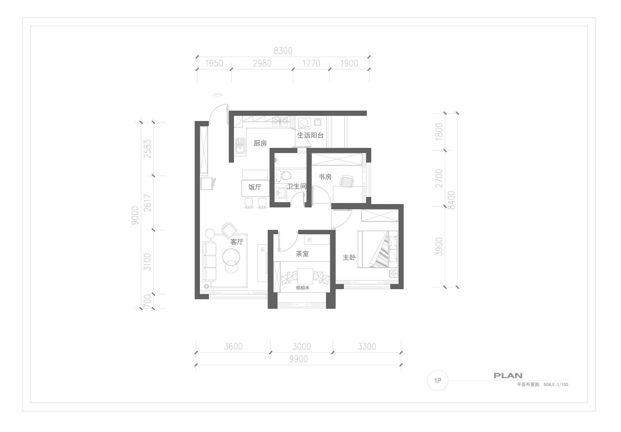 三居室北欧之家户型平面图
