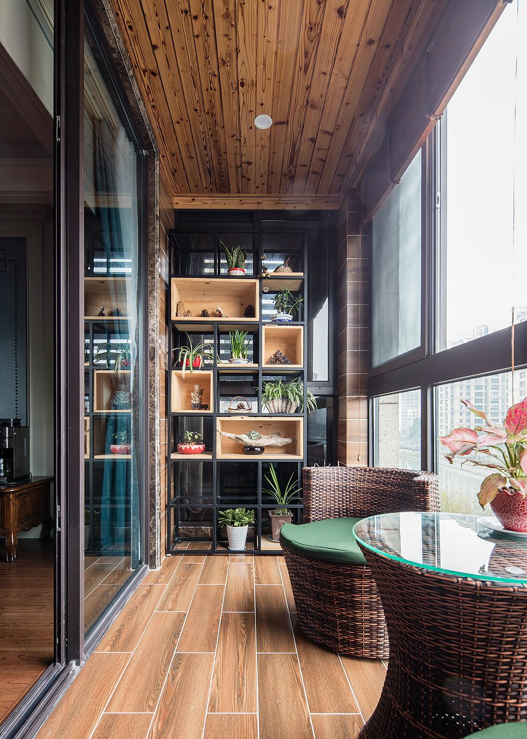 三居室美式风设计阳台实景图