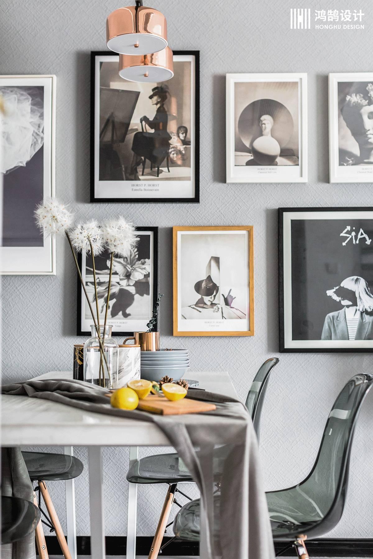 100㎡北欧风格家餐厅照片墙