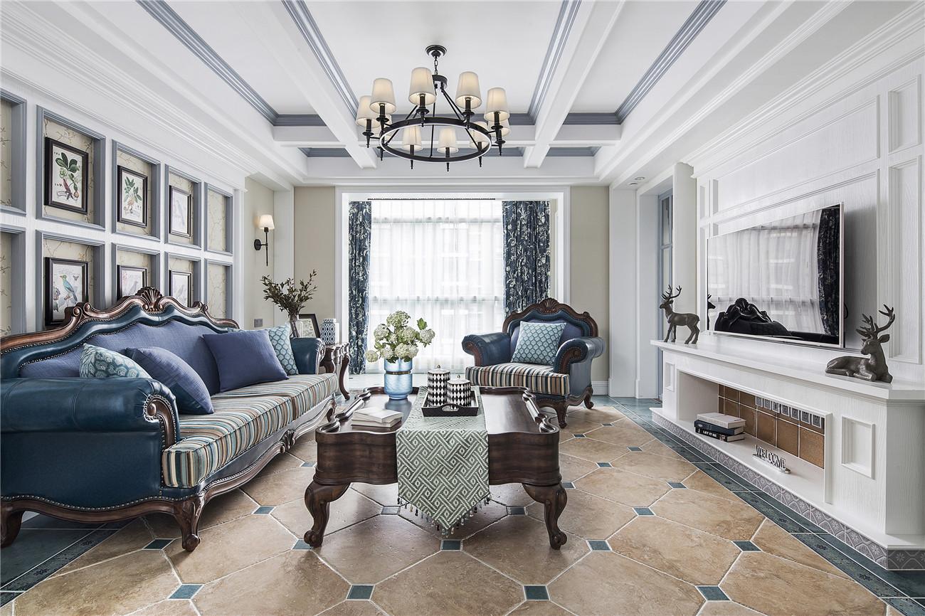 165㎡美式风格装修客厅效果图