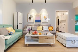 120平北欧风设计沙发背景墙