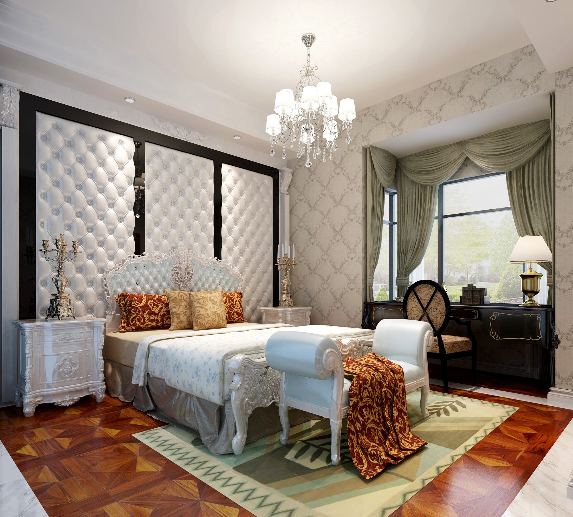 新古典豪宅装修效果图床头软包图片
