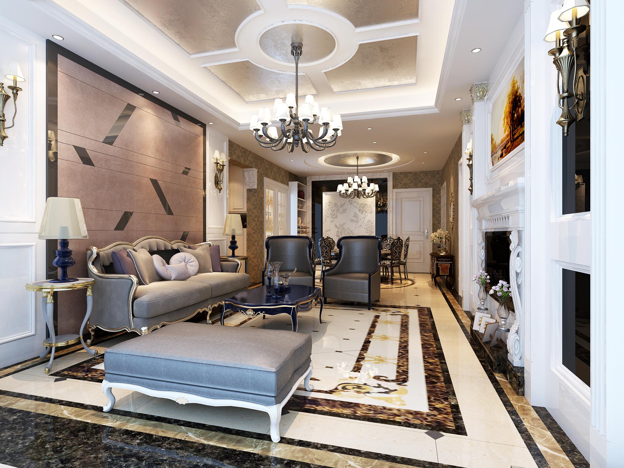 新古典豪宅装修客厅效果图