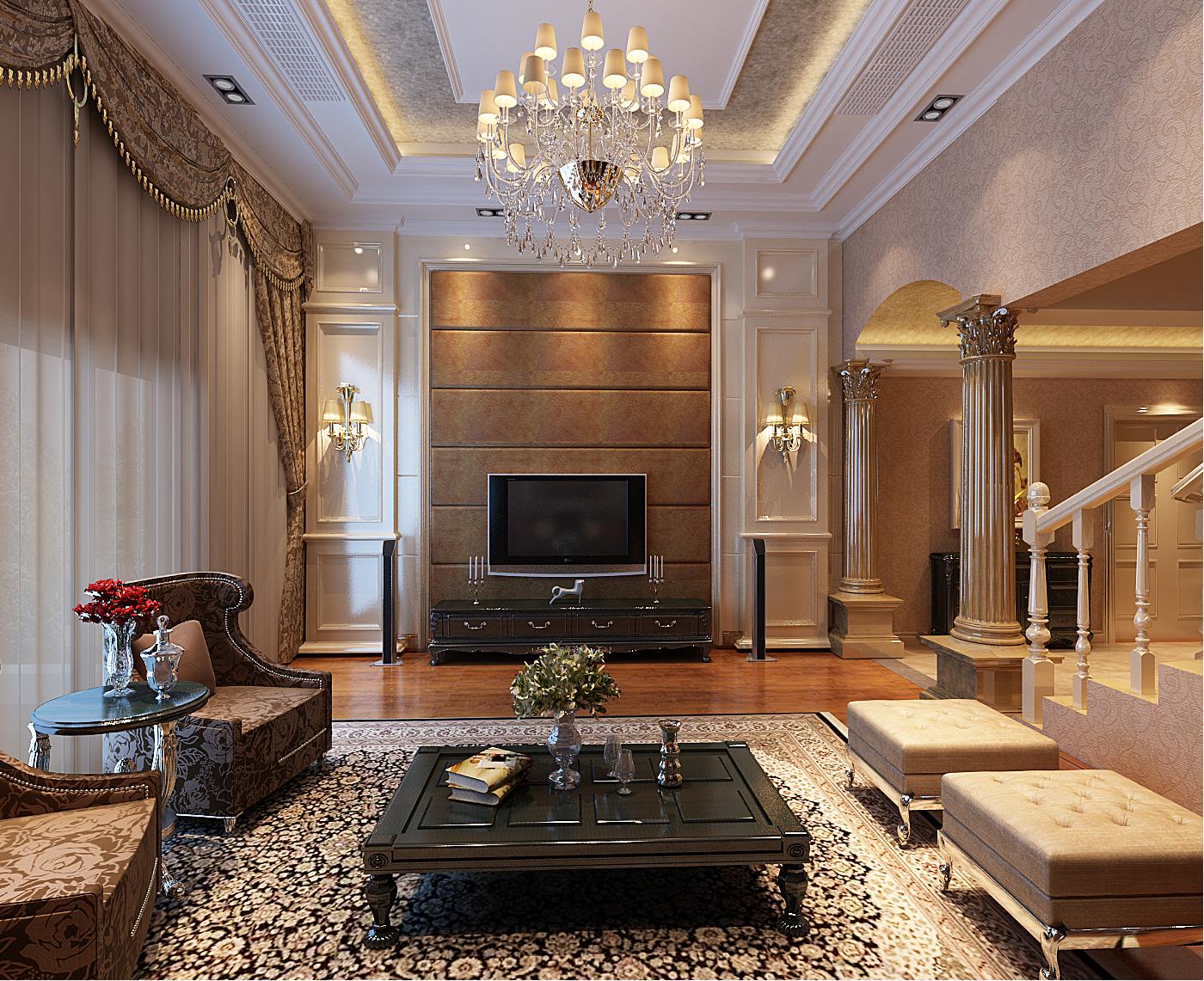 欧式别墅装修客厅效果图