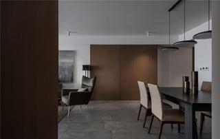 大户型简约现代风装修餐厅木饰面设计