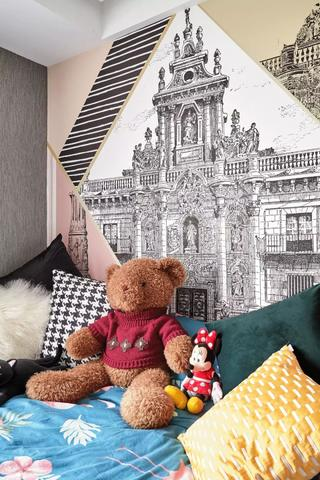 89㎡混搭二居室装修儿童房壁纸设计