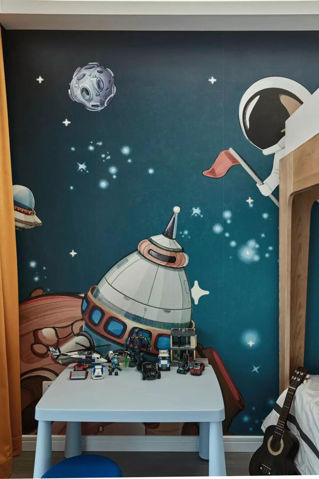 现代简约风格三居装修儿童房壁纸设计