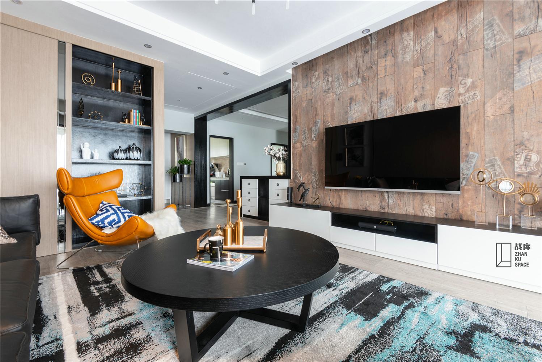 现代风三居室客厅电视墙装修效果图
