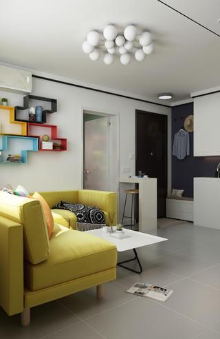 小户型现代二居装修客厅吸顶灯设计