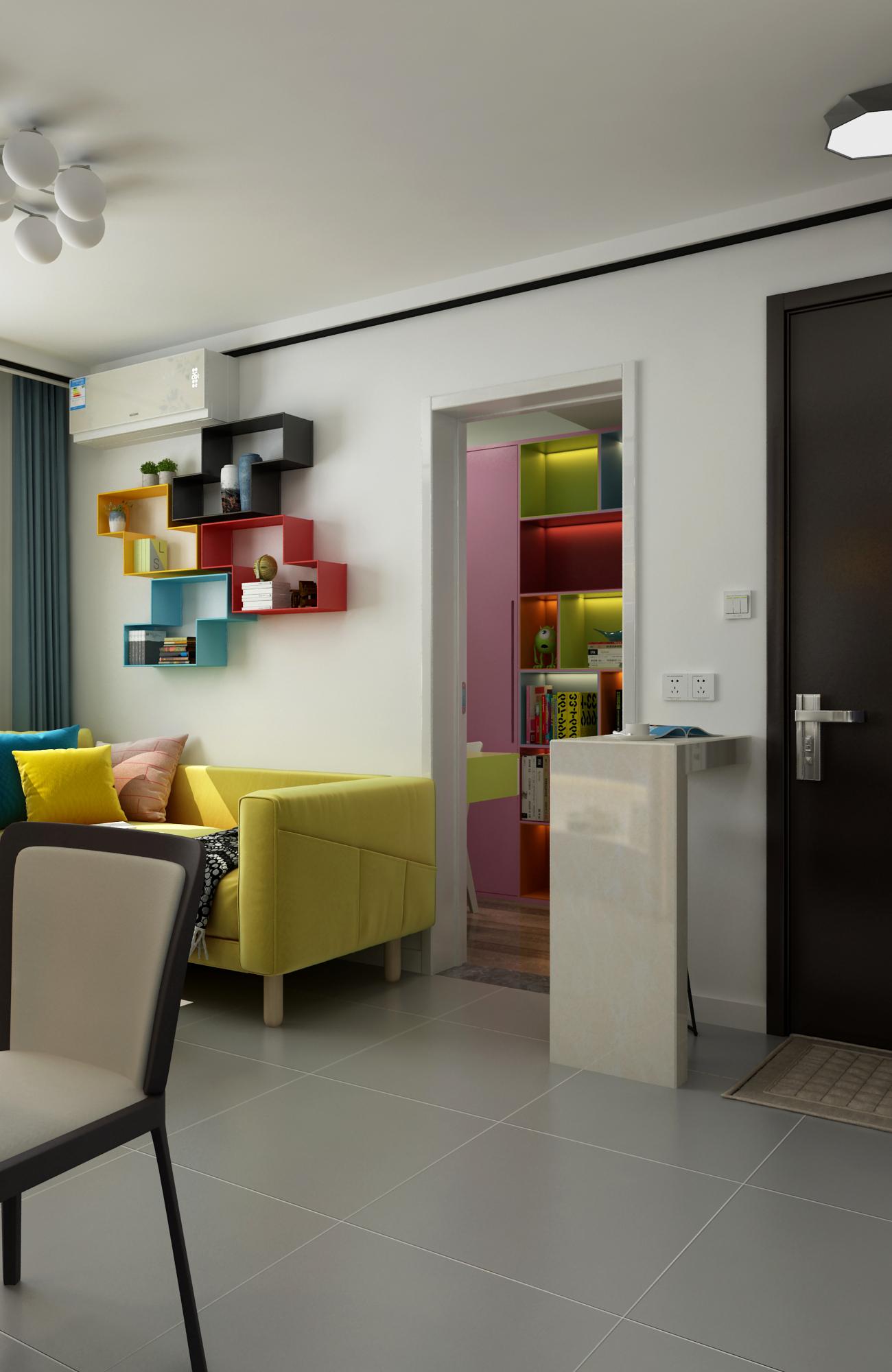 小户型现代二居沙发墙装修效果图