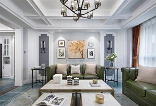 180㎡美式三居沙发背景墙装修效果图